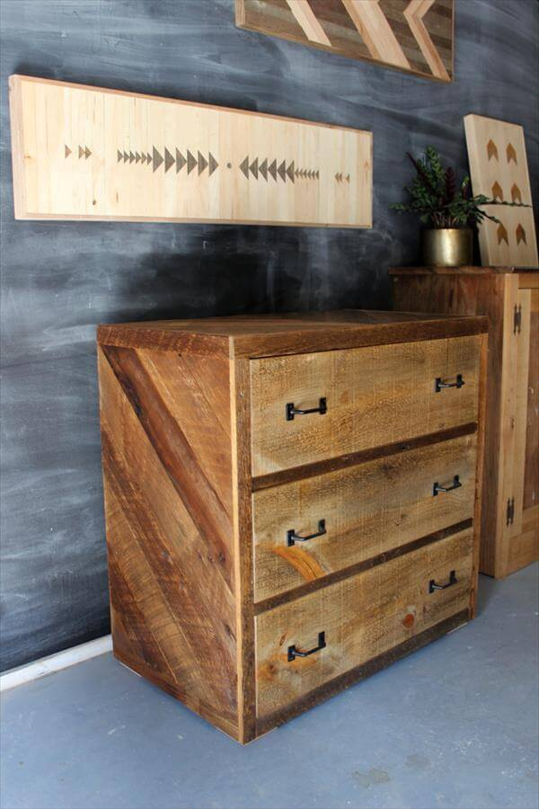 Nightstand Dresser And Chevron Signs Pallet Furniture DIY