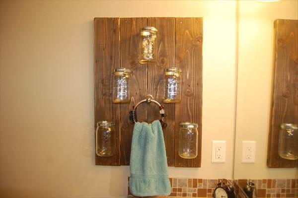 Pallet Mason Jars Shelf And Towel Rack Pallet Furniture Diy