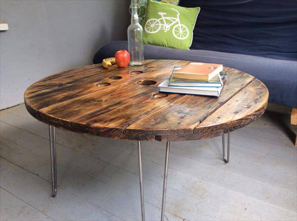 recycled pallet spool coffee table