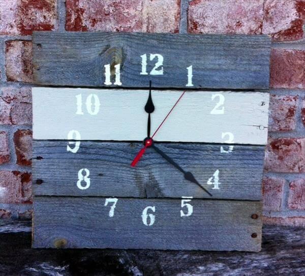 repurposed pallet wall clock