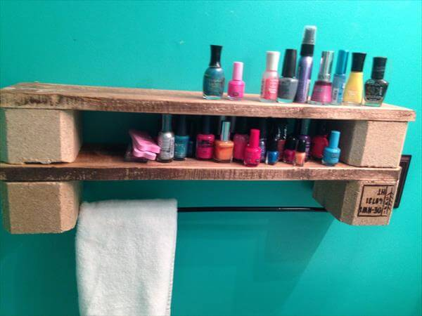 reclaimed pallet shelf with towel rack