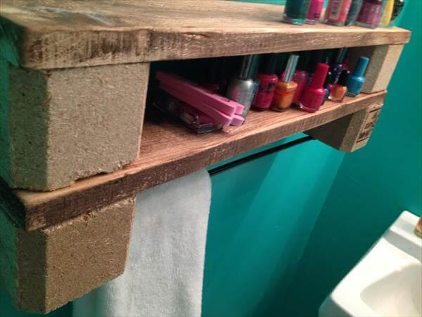 diy double pallet shelf and towel rack