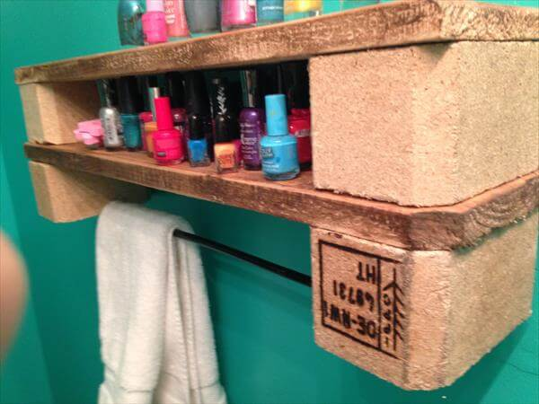 recycled pallet double shelf and towel rack