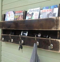 recycled pallet coat rack and bookshelf