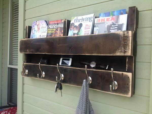recycled pallet coat rack and bookshelf