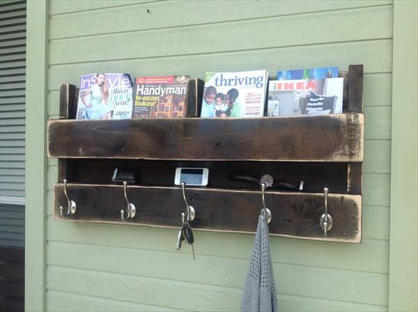 reclaimed pallet coat rack and bookshelf