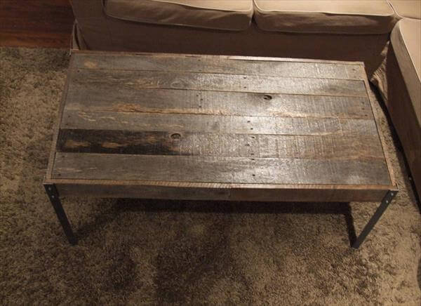 Low Cost Pallet Coffee Table With Metal Legs Pallet Furniture Diy