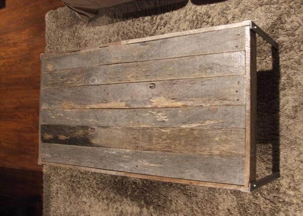 upcycled pallet coffee table with metal legs