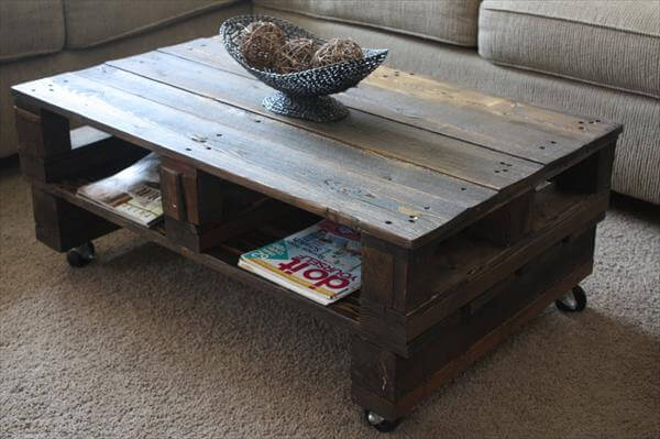 Vintage Pallet Coffee Table with Casters