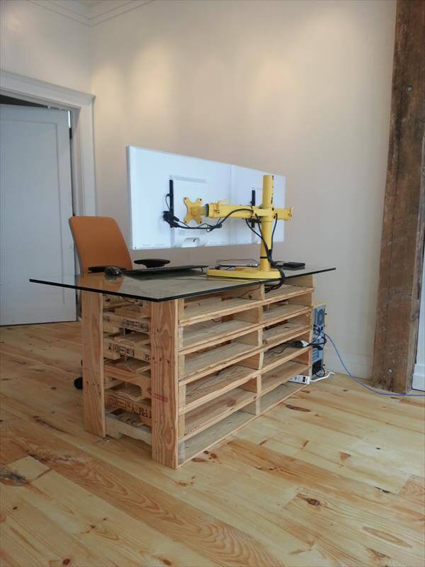 Office Pallet Desk With Glass Top Furniture DIY