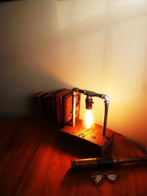 reclaimed pallet industrial table lamp