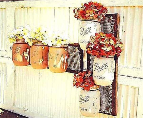 reclaimed pallet mason jar wall vases