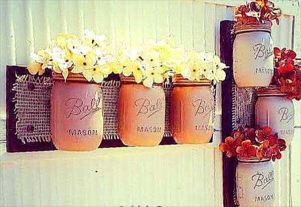 diy pallet mason jar wall decors
