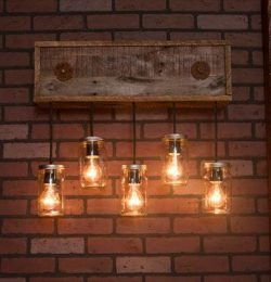 recycled pallet mason jar light fixture