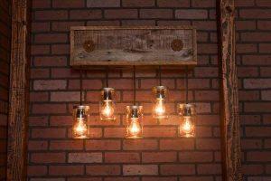 recycled pallet mason jar light fixture