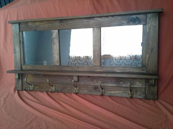 diy pallet mirrored coat rack