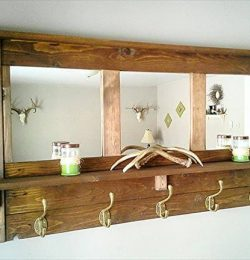 recycled pallet mirrored coat rack