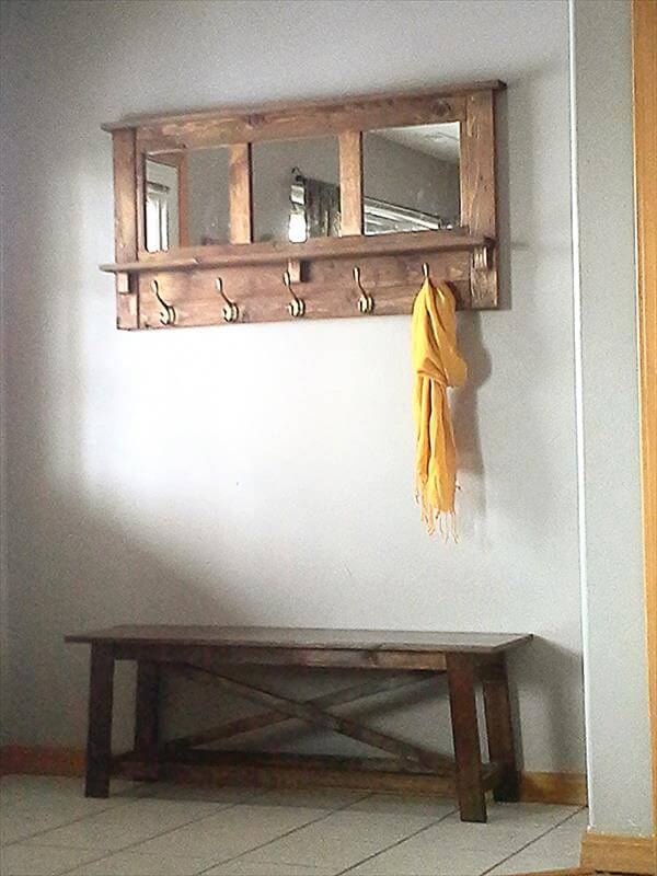 repurposed pallet mirrored coat rack