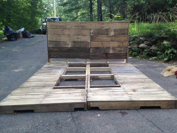 DIY Pallet Platform Bed with Headboard | Pallet Furniture DIY