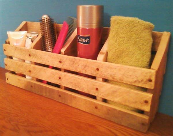 resurrected pallet bathroom orgnizer