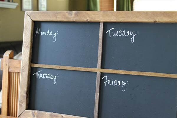 recycled pallet chalkboard