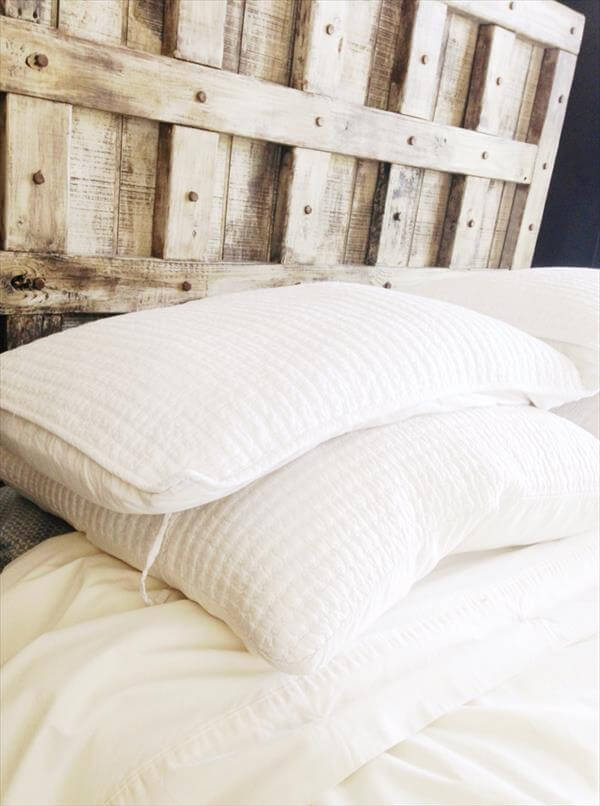 recycled pallet rustic headboard