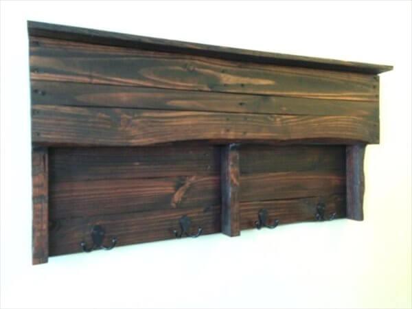 rustic pallet shelf and coat rack