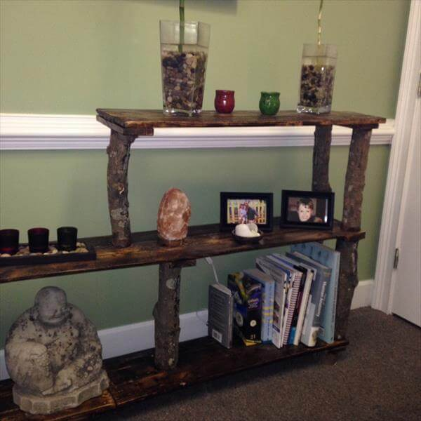 reclaimed pallet tiered bookshelf