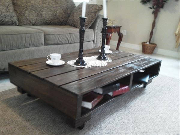 handcrafted rustic pallet coffee table