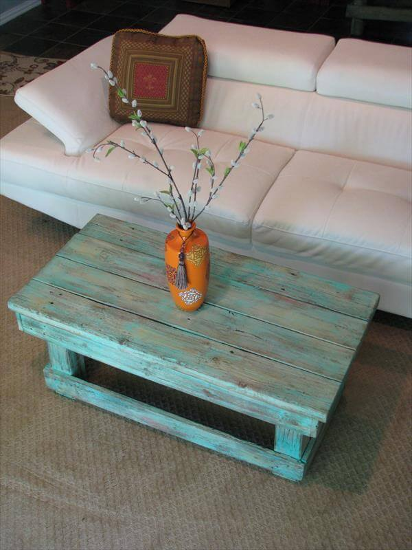 recycled pallet aqua coffee table