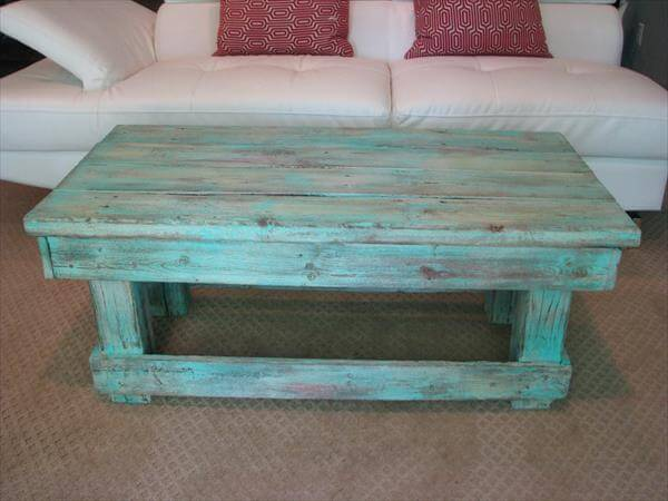 upcycled pallet aqua coffee table
