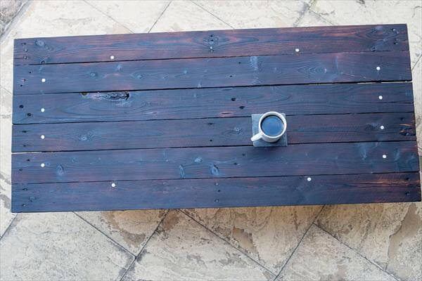 recycled pallet dark black coffee table