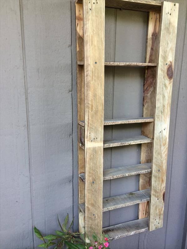 repurposed pallet art shelving