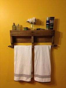recycled pallet bathroom shelf and towel rack