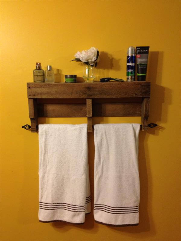 Luxury DIY Pallet Bathroom Wall Hanging Shelf  101 Pallets