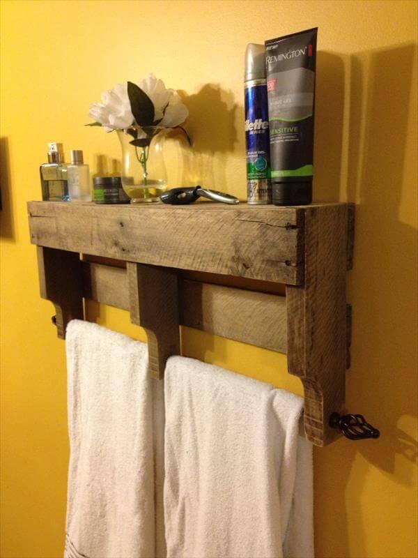 handcrafted bathroom and towel rack