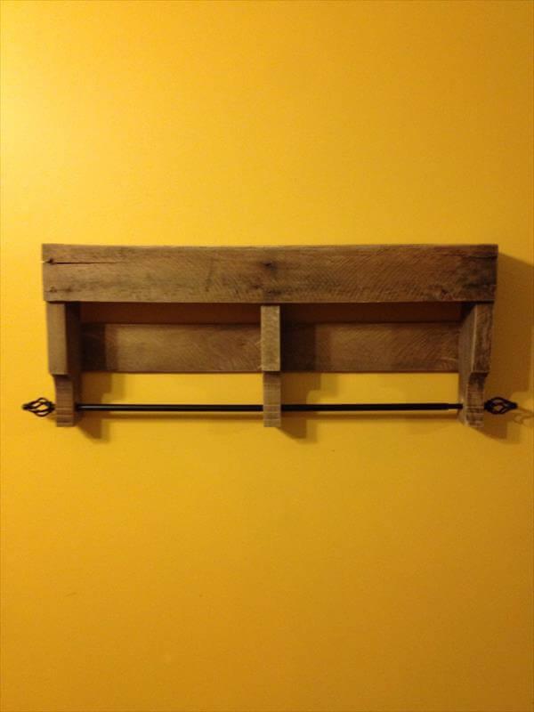 rustic pallet bathroom shelf and towel rack