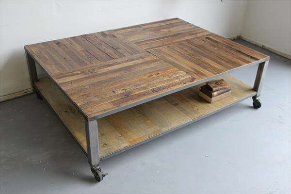 diy rustic pallet coffee table with metal base