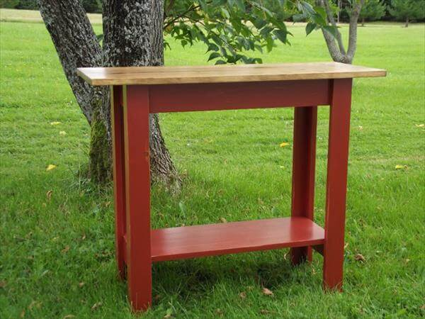 recycled pallet console sofa side table