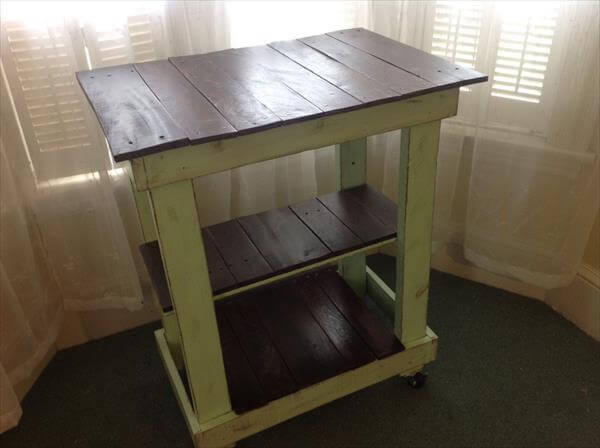recycled pallet kitchen cart