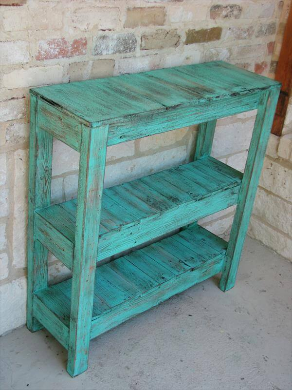 recycled pallet potting table and entry way table