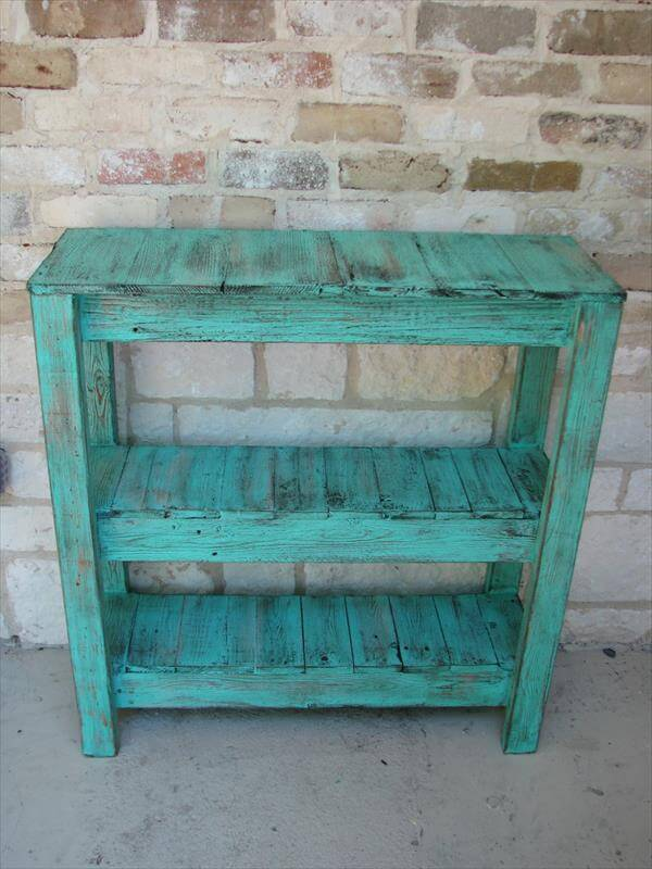 reclaimed pallet potting table and entry way table