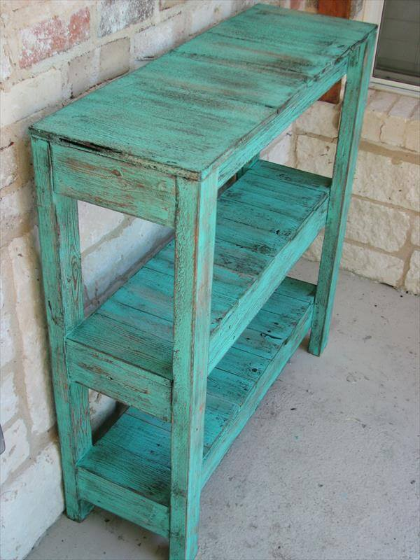 diy pallet potting table and entry way table
