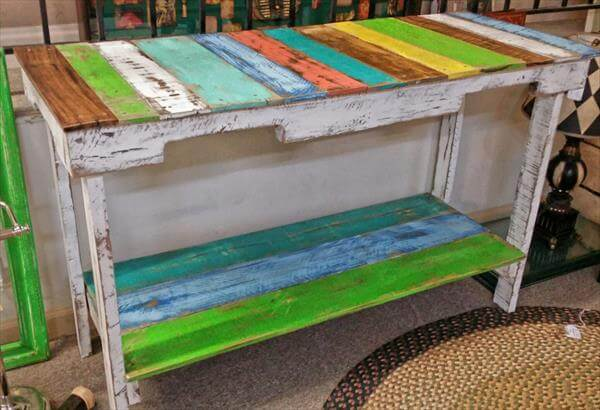recycled pallet sofa side table