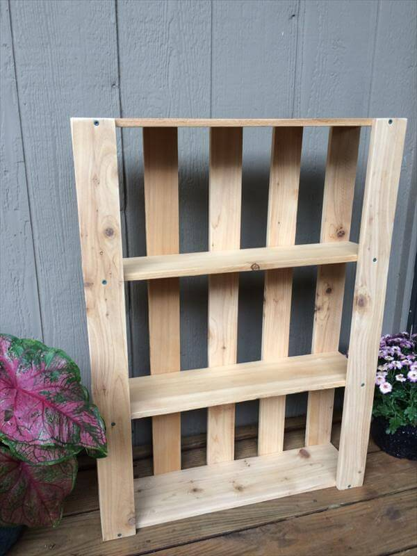 recycled pallet wall hanging shelves