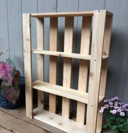 repurposed pallet wall hanging shelves