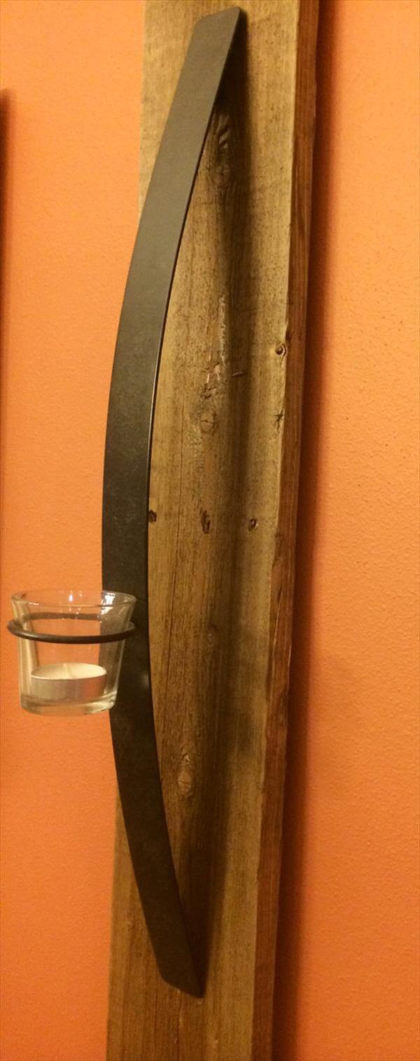 reclaimed pallet metal candle holder
