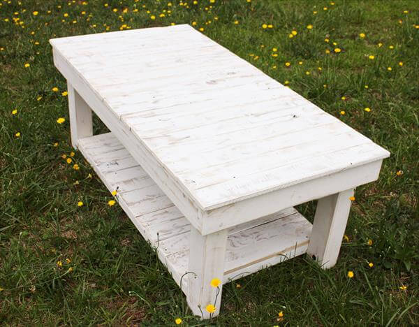 diy pallet chic white coffee table