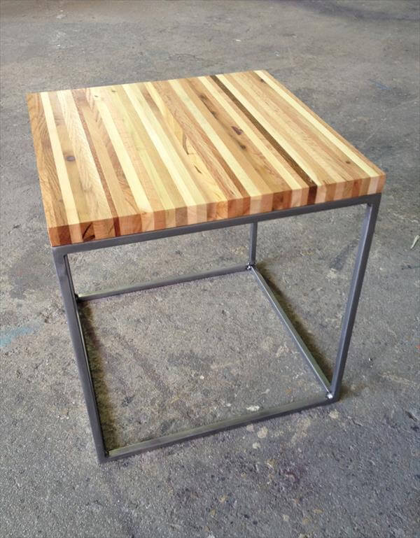 Recycled pallet wood and steel end table pallet for Diy coffee and end tables