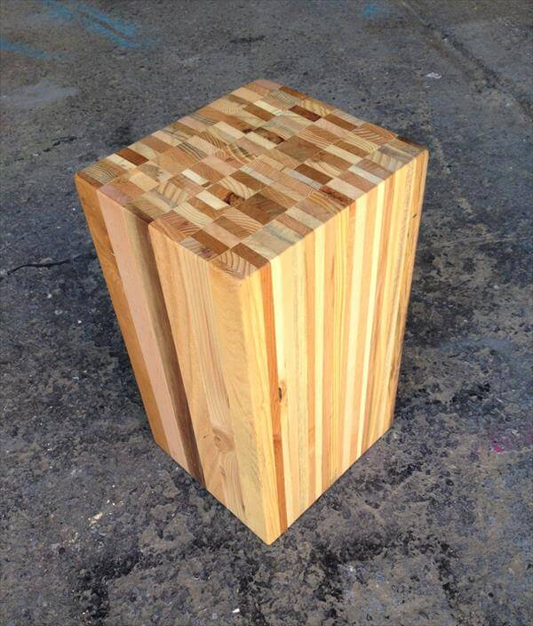 Recycled Pallet Wood Stool End Table